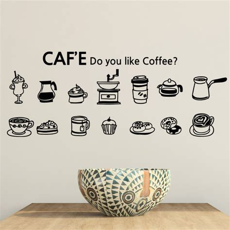 new arrival cafe vinyl wall decal coffee cake cup coffee sign mural wall sticker coffee shop