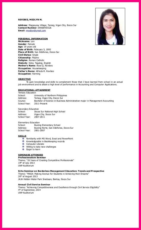 sle resume for ojt accounting students 100 images 58