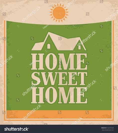 vintage home sweet home poster design stock vector