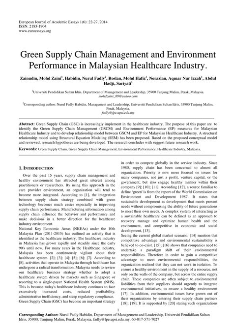 green supply chain management research paper green supply chain management and pdf available
