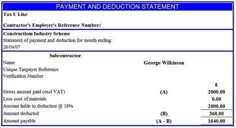 cis invoice template subcontractor cis notes for subcontractors cis single payment deduction