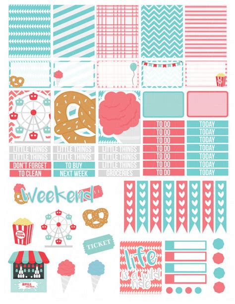 printables for erin condren life planner printable planner stickers summer carnival glam planning