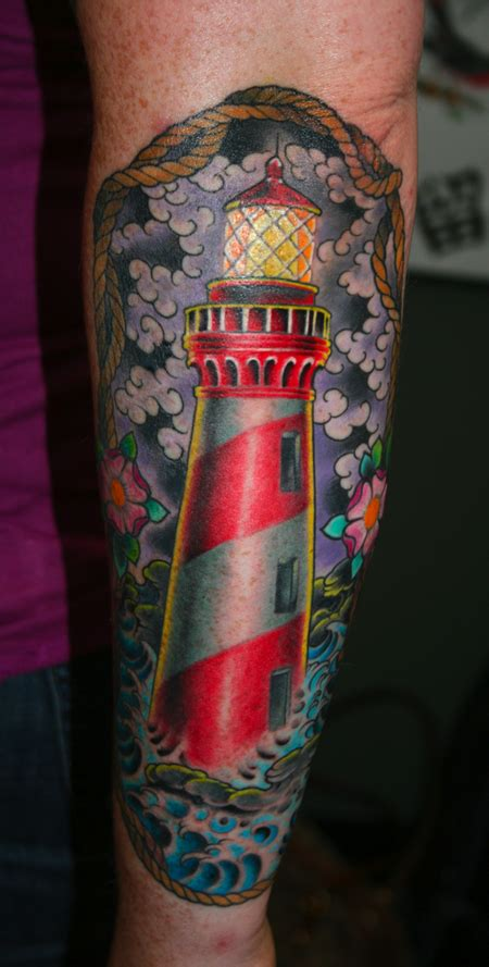 new school lighthouse tattoo lighthouse by jim miner tattoonow