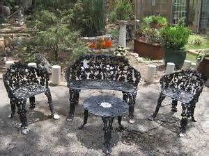 vintage cast iron patio garden set grape pattern chair