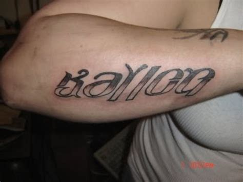 tattoo on arm or back ambigram tattoo on arm back