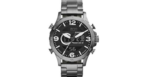 Fossil Nate Black Grey lyst fossil nate digi in gray for