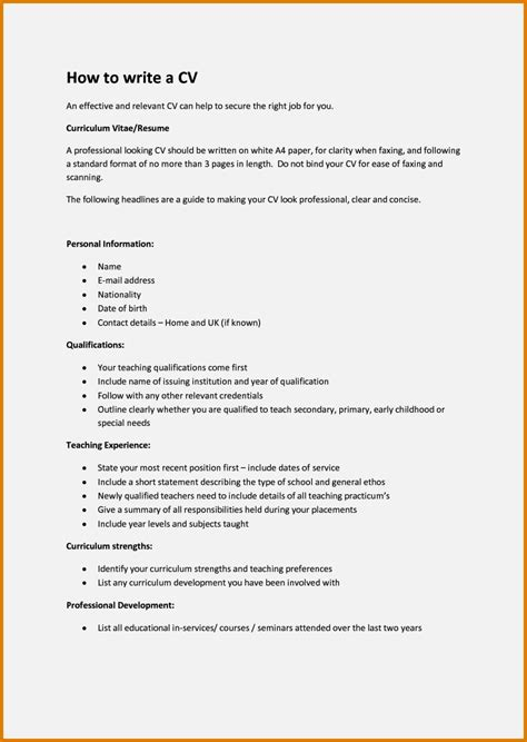 How To Create A Resume For A by How To Create A Cv For A 16 Year Resume Template