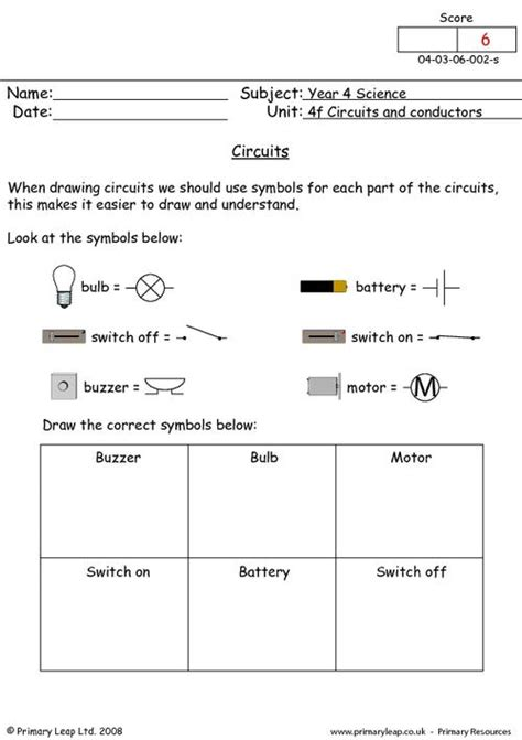 Circuits Worksheet by The Gallery For Gt Simple Circuits For Worksheets