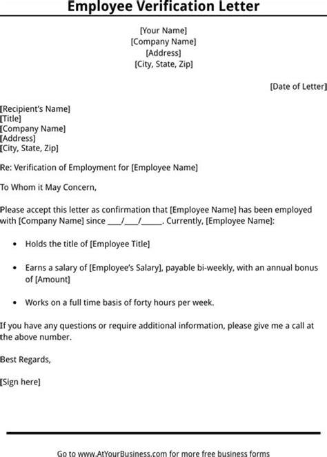 Verification On Letterhead Employment Verification Letter Template Templates Forms