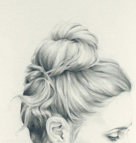 sketches of hair pencil sketch updo hair girl art style photo