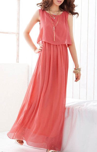 O neck Sleeveless Chiffon Maxi Beach Dress   MI VESTUARIO