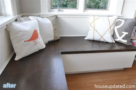 built in bench cushions i like the idea of using a stained banquette instead of