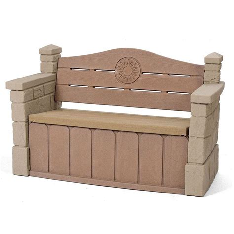 home depot patio bench step2 outdoor storage patio bench 5433kr the home depot