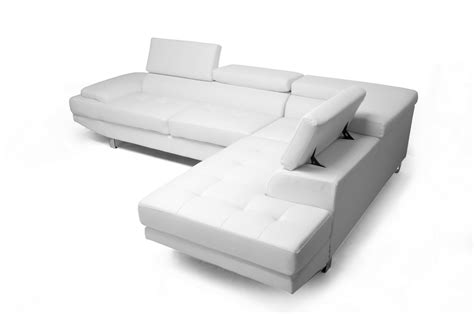 cheap white leather sectional sofa baxton studio selma white leather modern sectional sofa wholesale interiors
