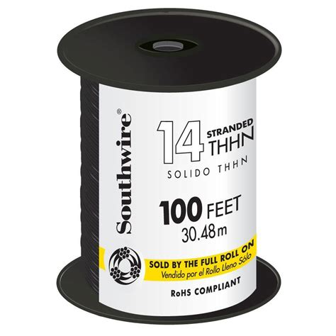 southwire 100 ft 14 black stranded cu thhn wire 22955952