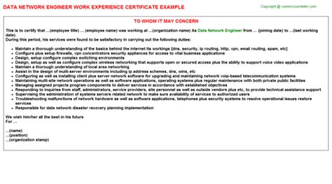 Work Experience Certificate Network Engineer Application Letter For Network Engineer Network Engineer Cover Letter Exle Icover Sle