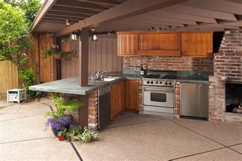 cool outdoor kitchen design in terrace as well