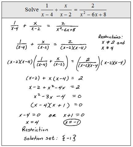 Solving Rational Expressions Worksheet