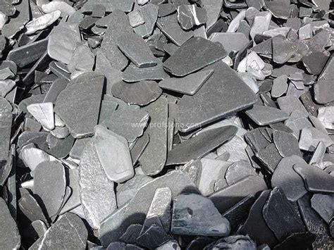 black slate chips natural stone landscape project