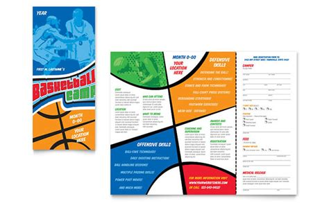 basketball sports c brochure template design