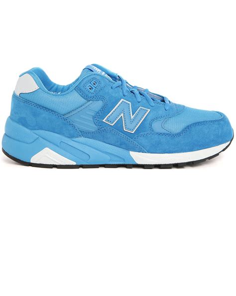 blue leather sneakers new balance 580 blue leather sneakers in blue for lyst