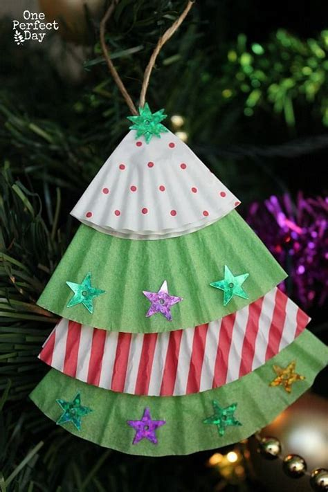 cupcake liner trees easy ornament for to make using cupcake liners and some glittery stickers