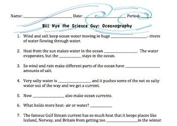 Currents Worksheet by Bill Nye Oceanography Ocea By Mayberry In Montana