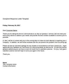 Response Letter Template Complaint Letter Templates 6 Free Sample Example