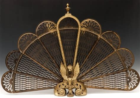 fireplace fan screen 760 brass fan shaped fireplace screen lot 760