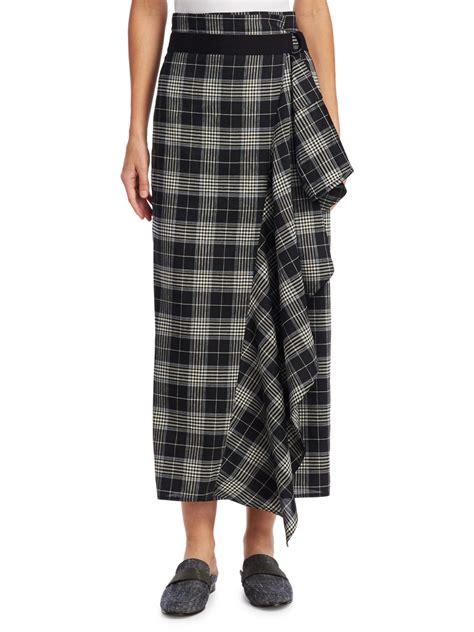 Plaid Ruffle Midi Skirt lyst brunello cucinelli ruffle plaid midi skirt in black
