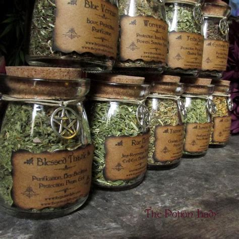 set  witchs herbs jars sacred herbs wiccan  thepotionlady
