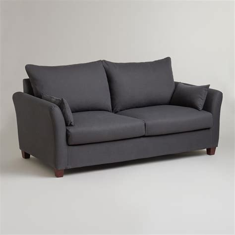 world of sofas charcoal luxe sofa slipcover world market