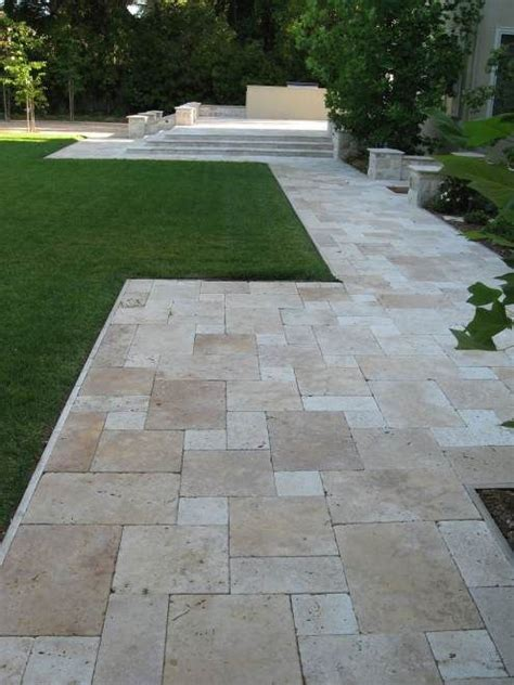 Travertine Backyard by Travertine Walkway Backyard Ideas