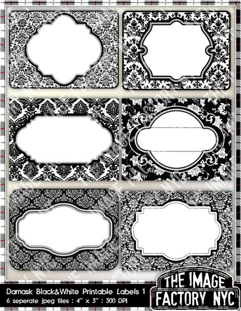 White Label Gift Cards - black and white damask printable labels tags for gift tags