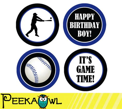 printable baseball stickers instant download baseball cupcake toppers printable baseball