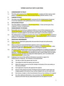 expenses policy template hr advance expense claim policy with claim form