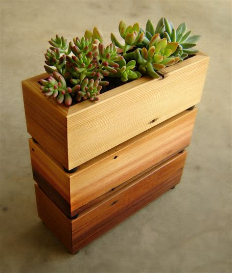 Succulent Planter Box In Recycled Cedar With Gravel And Soil Cedar Planter Box
