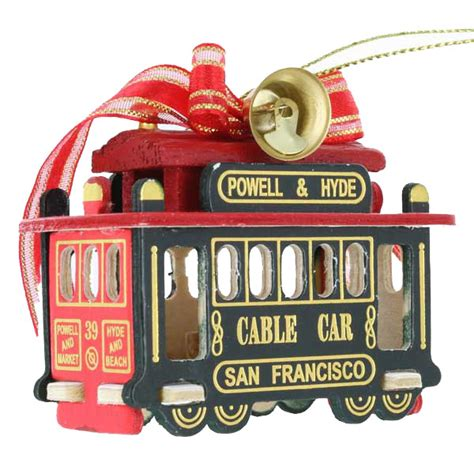 san francisco cable car ornament 3 quot green model