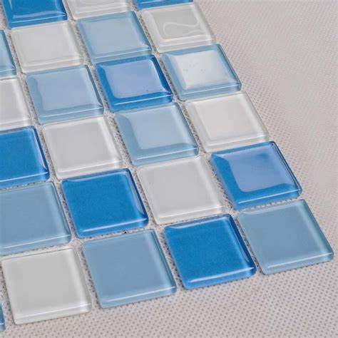 decorative pool tiles glass mosaic for swimming pool tile blue white