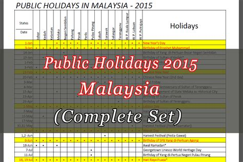 Calendar 2015 Printable With Holidays Malaysia 2015 Malaysia Holidays Calendar And Print