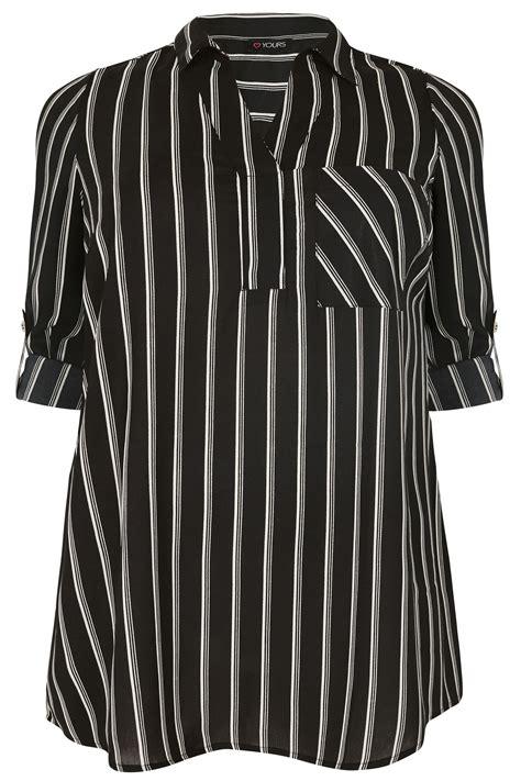 Striped Oversized Shirt black white oversized striped shirt plus size 16 to 36
