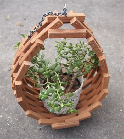 two plants in modern wooden pots plant pots pinterest vintage mid century modern wooden hanging planter garden