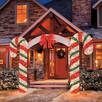 Large Canes Decor by Large Bow Arch Clear Lights Stake