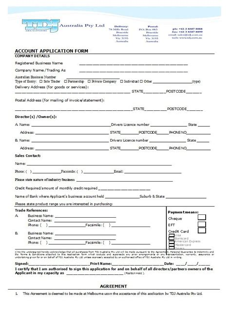 Credit Account Application Template Australia 40 Free Credit Application Form Templates Sles