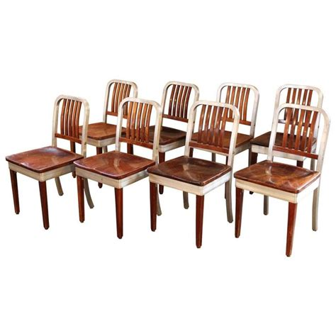 eight industrial metal dining chairs at 1stdibs set of eight vintage wood and metal aluminium side shaw