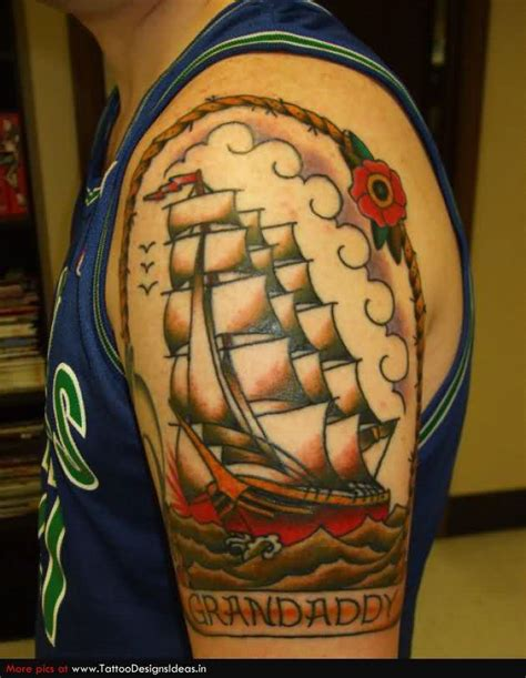 new school ship tattoo old school ship tattoo on upper arm for grandfather