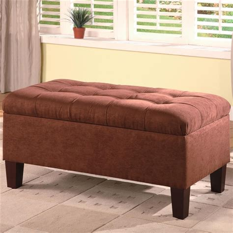 chocolate microfiber ottoman chocolate microfiber storage ottoman by coaster 501040
