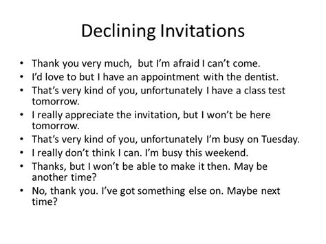 Letter Declining Wedding Invitation Social Interactions Inviting Responding To Invitations Ppt