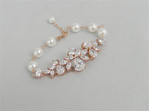braut armband rose gold bridal bracelet crystal wedding bracelet pearl