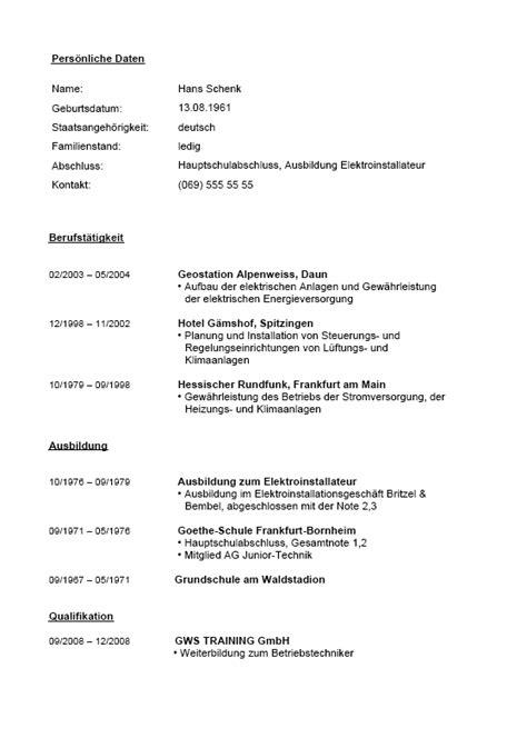 Lebenslauf Muster Elektroniker Berufserfahrung Beispiele F 252 R Lebenslauf